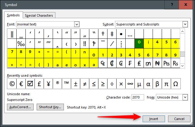 نوشتن اندیس فرمول در ورد